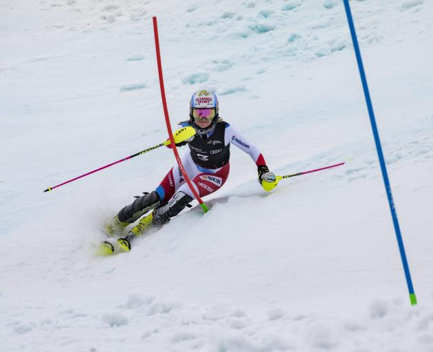 Charlotte Chable, of Switzerland, powers her way down the slopes of Coronet Peak yesterday to win the women's slalom. Photo: Neil Kerr/Winter Games NZ