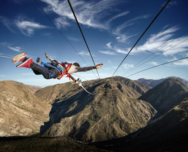 A guest experiences AJ Hackett Bungy's new Nevis Catapult. Photo: Supplied