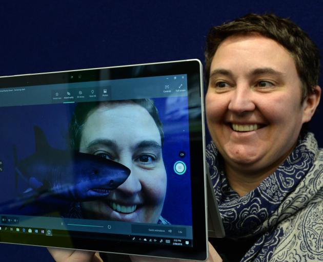 Microsoft Innovative Educator Fellow and Taieri College science teacher Rachel Chisnall uses Paint 3D on Windows 10 to create a shark that swims, to encourage her son to read. Photo: Linda Robertson