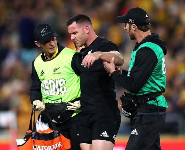 Ryan Crotty leaves the field with concussion during the weekend's Bledisloe Cup match against...