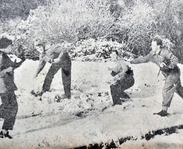 Paul Aubin confesses it was he who was captured in the front-page ODT photograph of Monday July 29, 1957, peppering Dorothy, Ruth and Patricia with snowballs near Olveston the previous day. The ODT photographer that snowy day was the late Tom Lloyd, Paul