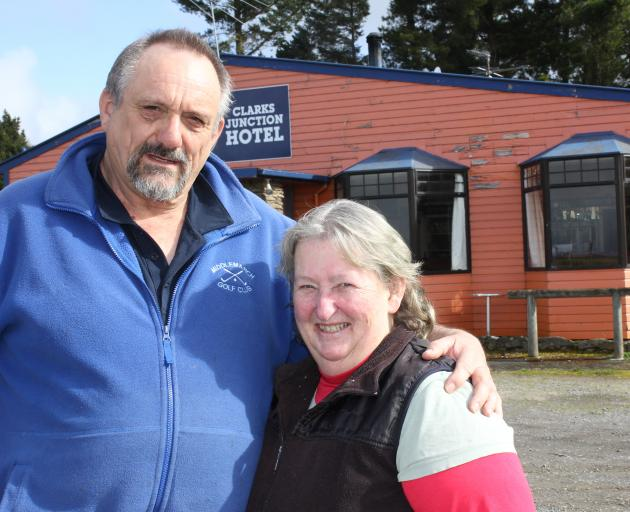 Clarks Junction Hotel owners Adrian and Gillian Bardrick outside the eye-catching establishment. Photo: John Lewis