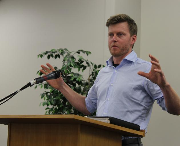 Environment Southland water resources scientist Lawrence Kees talks to members of the public about the Edendale aquifer at a meeting in the town earlier this year. Photo: SRL files