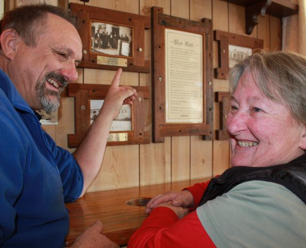 Clarks Junction Hotel owners Adrian and Gillian Bardrick admire some of the hotel's history....