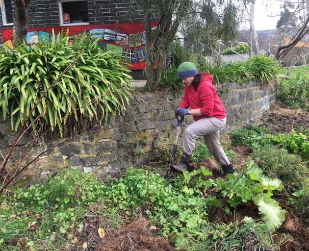 Sally Beckett in the Waitati School garden.