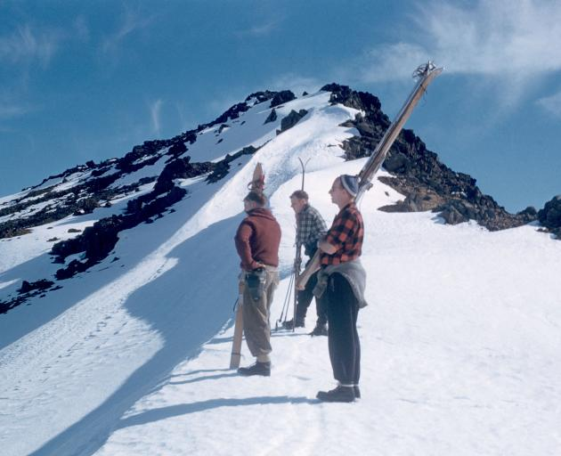 Skiers on Mt Luxmore. Photo: Barry Campbell