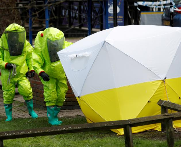 The forensic tent, covering the bench where Sergei Skripal and his daughter Yulia were found, is...