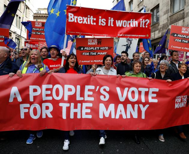 Protesters calling for a second referendum on the UK's exit from the EU. Photo: Reuters