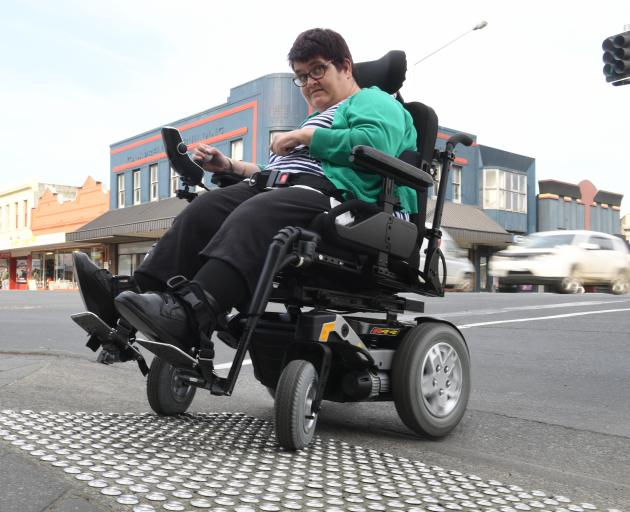 South Dunedin woman Fiona Russell said the kerb-cutting at the Cargill's Corner intersection is dangerous, and puts people who use wheelchairs in danger of being hit by a turning vehicle. Photo: Stephen Jaquiery