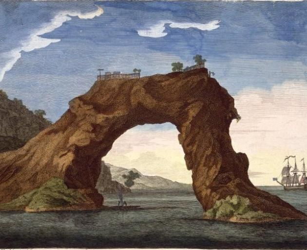 An engraving by Sydney Parkinson, 1745-1771, of the arched rock at Mercury Bay (which has since collapsed), with a small canoe beneath it and the Endeavour at anchor. The palisades and some buildings of the pa (Te Puta o te Paretauhinu) on top of the rock