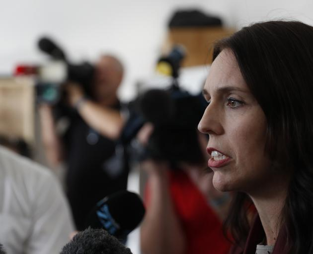 Jacinda Ardern talks to media at her electorate office in Mt Albert. Photo: NZ Herald