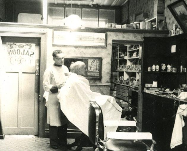 The saloon at Clark's barber shop in Timaru about 1960. PHOTO: SOUTH CANTERBURY MUSEUM 7802