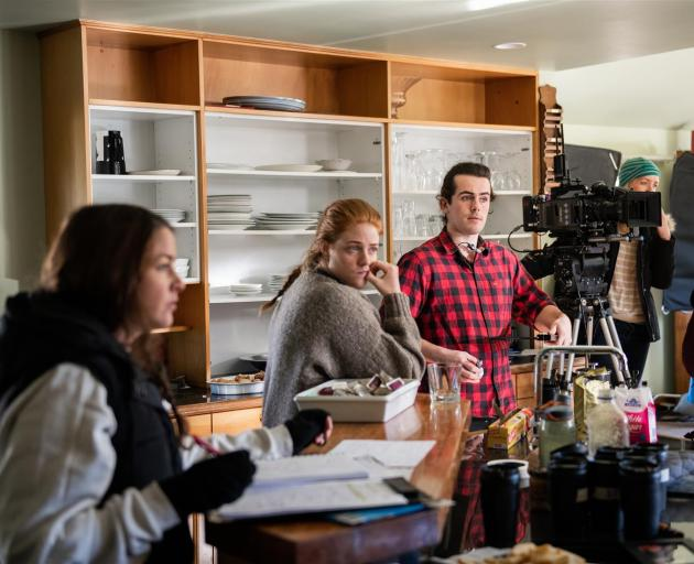 Filming a scene from web television series pilot Constance, on location in Wanaka in August, are (from left) producer Fiona Armstrong, co-writer and unit manager Tessa Livingston and crew member Jonathan Harris. Photo: Mickey Ross