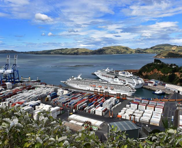 The cruise ships Crystal Symphony (front) and Sun Princess at Port Chalmers earlier this year. Photo: Peter McIntosh