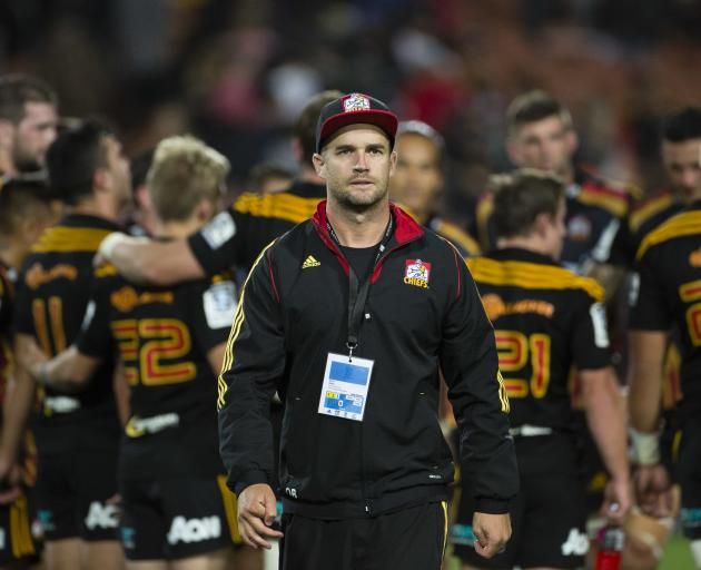 Chiefs dietitian Dane Baker patrols the sidelines during a Super Rugby match. Baker was in Dunedin to give a lecture on sports nutrition. Photo: Supplied