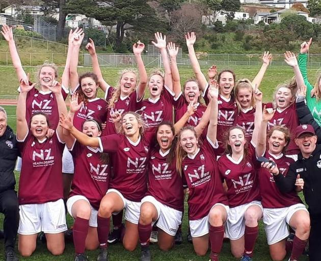 Dunedin Tech celebrate their semi-final win in Wellington. Photo via Facebook
