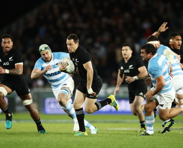 Ben Smith breaks the line during the Rugby Championship test against Argentina in Nelson. Photo:...