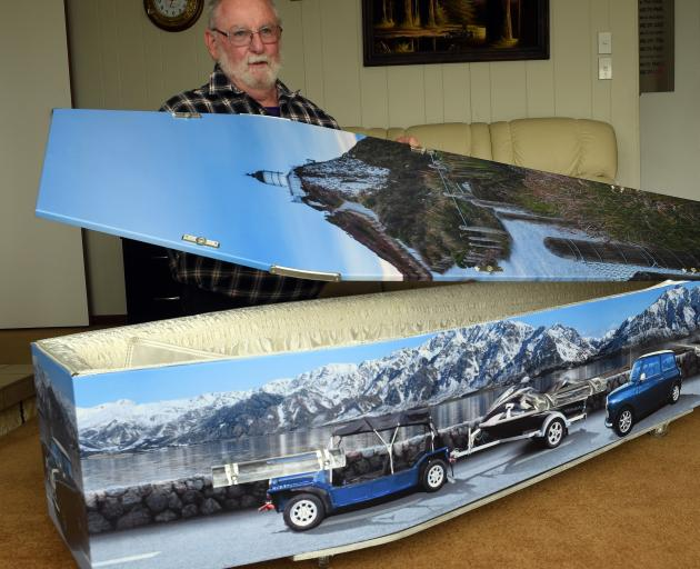 Graeme Blackmore at home in Balclutha with his coffin table.