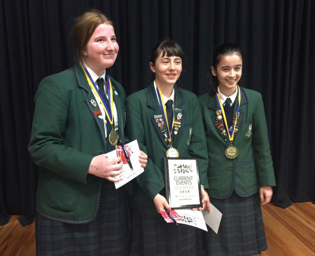 Winners of the Otago Daily Times Extra! years 9 and 10 current events quiz (from left) Georgia...