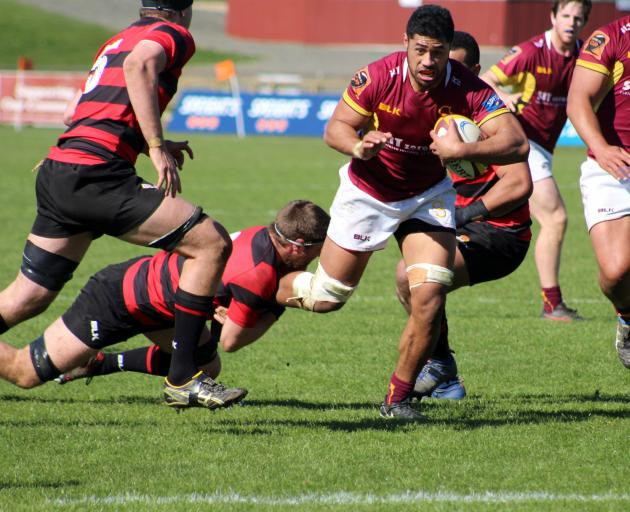 Southland B blindside flanker Presley Tufuga in action in yesterday's 41-21 loss to Canterbury B...
