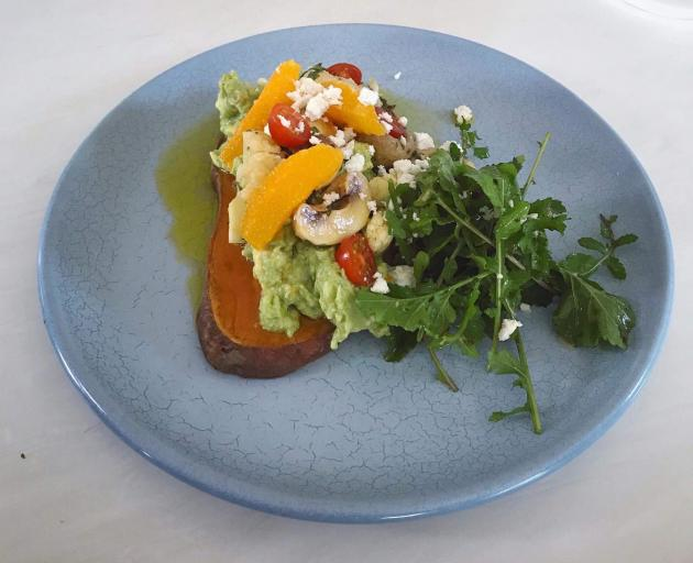 Kumara Toast salad with marinated mushrooms and smashed avocado.  Photo: Supplied