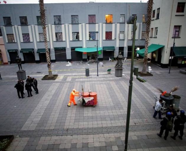 A general views shows a crime scene on the edge of the tourist Plaza Garibaldi in Mexico City. Photo: Reuters
