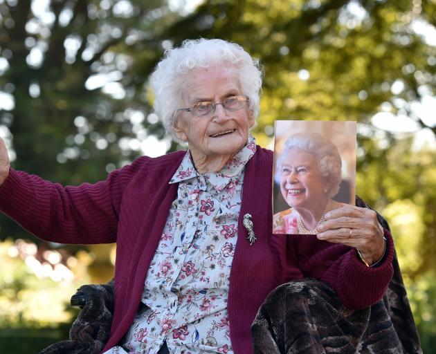 Muriel Bayne celebrates her 100th birthday at Larnach Castle yesterday. Photo: Peter McIntosh