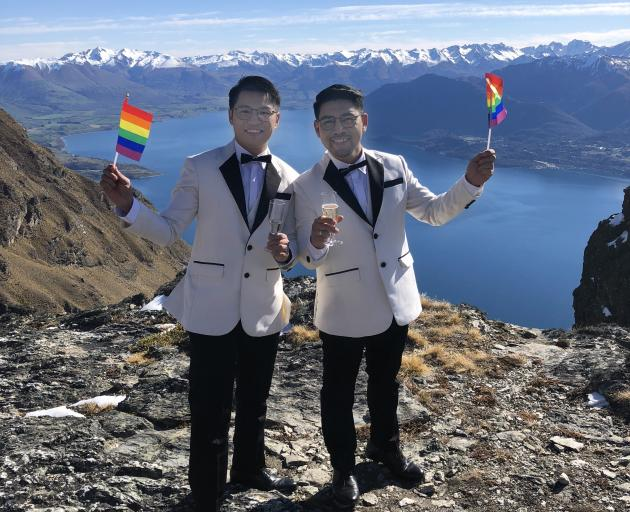 Edgar Allan Caper and James Contemplacion tie the knot during Winter Pride. Photos: Supplied