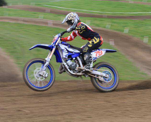 Roma Edwards (16) rides to victory  in a round of  the New Zealand Veteran and Women's Motocross...