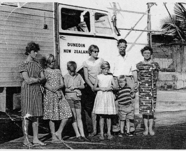 MacLeod family overland vehicle Holdfast I, Bangkok 1963 (from left) Marilyn, Flora, young Alan,...