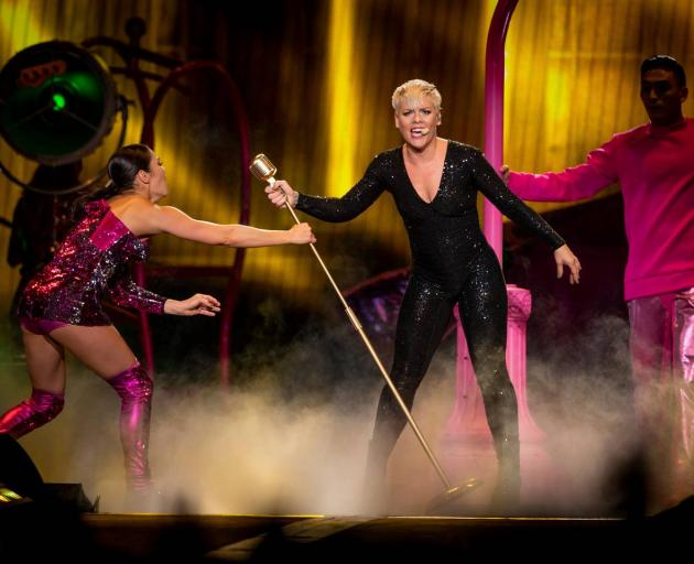 Pink in her sparkling black jumpsuit at the Spark Arena last night. Photo: NZME
