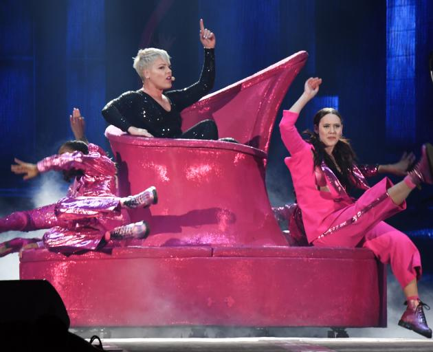 Pink performs on her intricate set. Photo: Stephen Jaquiery