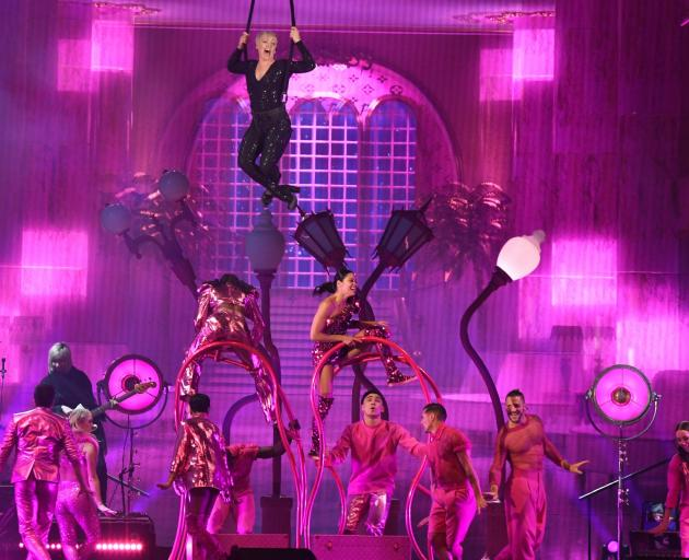 Pink wowed the crowd with her colourful and energetic show. Photo: Stephen Jaquiery