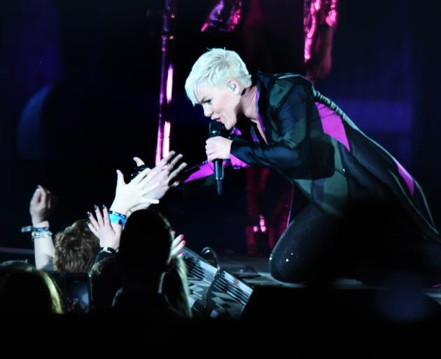 Pink performs at Forsyth Barr Stadium last night.