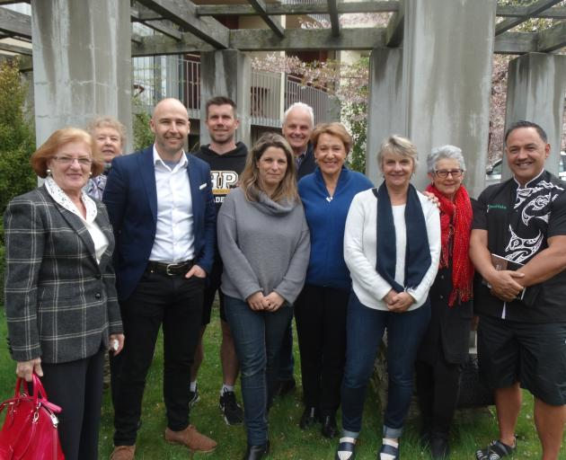 Gathering at the PDP hearing yesterday at the Heritage Hotel Queenstown are (from left) Helga Collman, Cleone Blomfield, Airbnb head of public policy in NZ and Australia Brent Thomas, Andre Simon, Carleen Dalton, Wayne Christensen, Mary Christensen, Chris