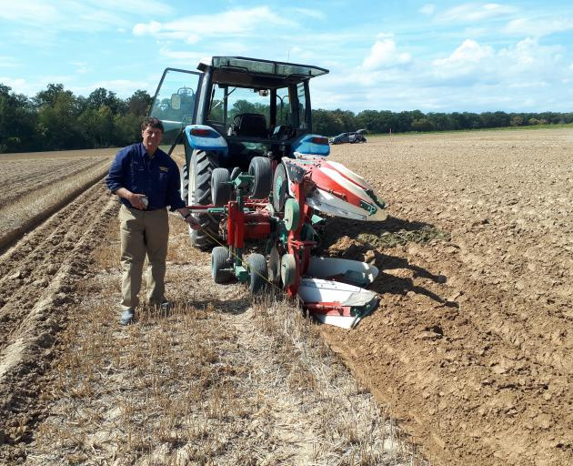 Timaru ploughman Bob Mehrtens measures his progress on German soil at the world champs. Photo: Supplied