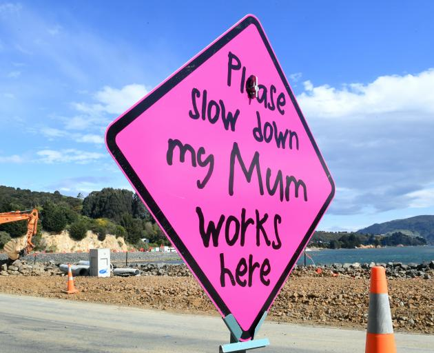 One of several different speed signs with a simple but direct message at roadworks in Portobello...