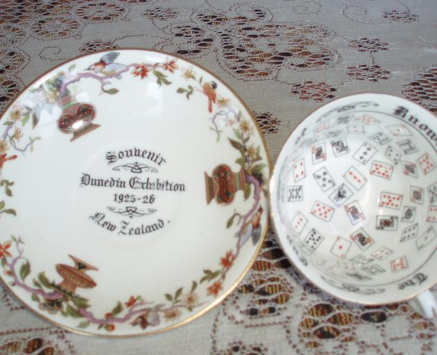 Daphne McLay's father went to the exhibition and the family came back with this souvenir crockery...