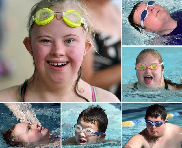 Dunedin secondary school pupils at a Special Olympics-organised event at Moana Pool yesterday (clockwise from top left): Amy Frethey, (16, Taieri College) Luke Bain (18, Sara Cohen School), Laura Valentine (17, Bayfield High School), Levi Toki (20, Sara C