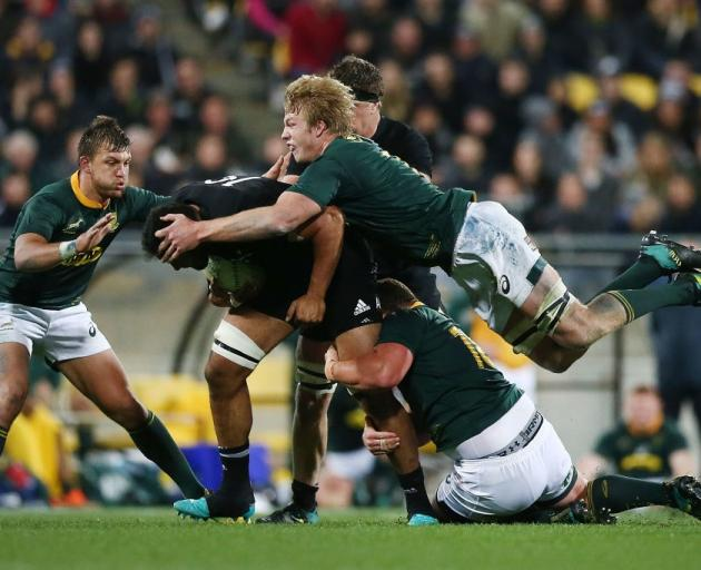 The Springboks defence was swarming against the All Blacks during their win last weekend. Photo:...