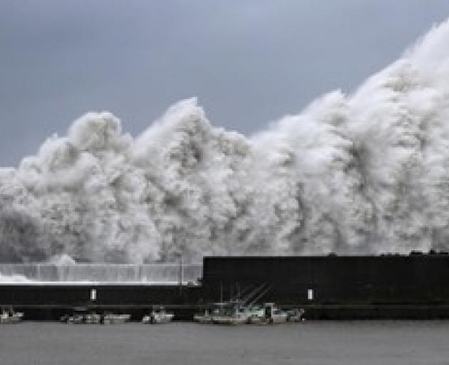 High waves triggered by Typhoon Jebi are seen at a fishing port in Aki. Photo: Reuters