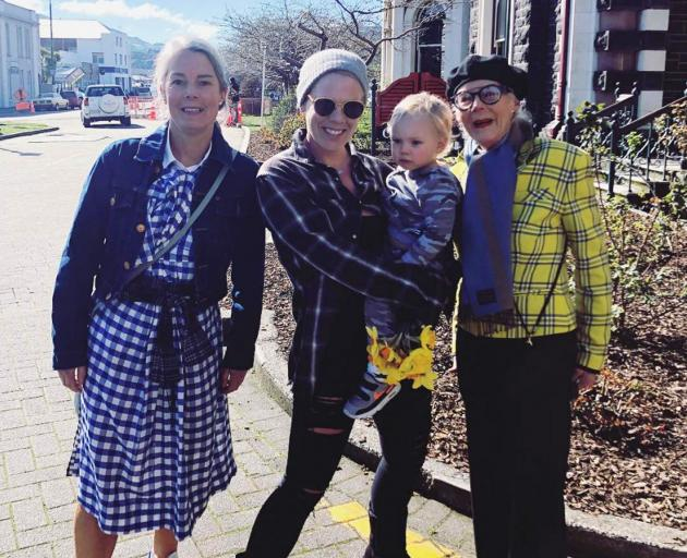 Pink and son Jameson Hart stop fashionable Dunedinites Harriet (left) and Barbara Brinsley for a...