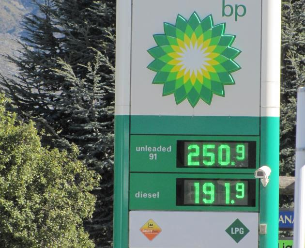 Petrol prices in Wanaka have gone over $2.50 per litre. Photo: Mark Price