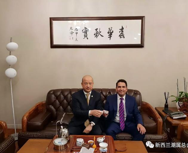 An image released yesterday by Jami-Lee Ross showing National leader Simon Bridges with Chinese businessman Yikun Zhang. Photo: Supplied