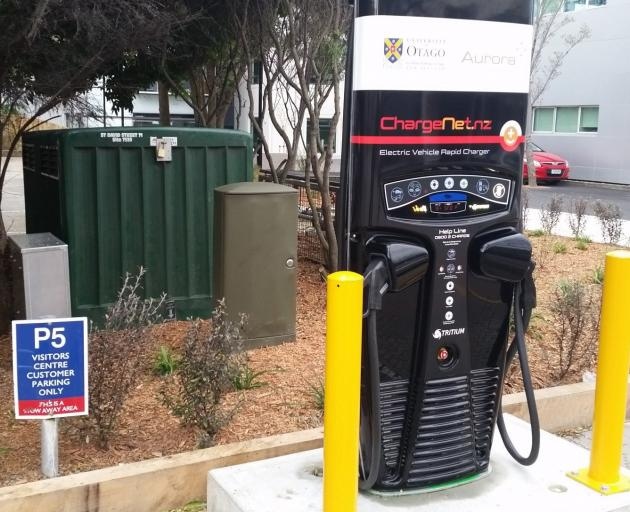 "ODT reader Phil Scadden sent this in: ""Given the parking restrictions, can we assume the new charging station at the University of Otago is the fastest electric-car charger in the world?'' Photo: Phil Scadden"