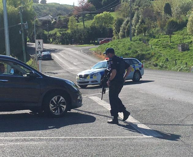 Armed police have cordoned off some Oamaru streets this morning. Photo: ODT