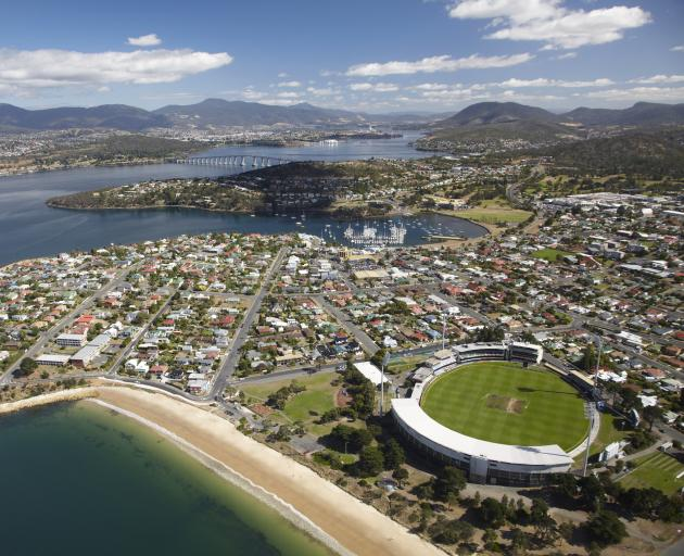 Aerial of Bellerive Oval cricket, Bellerive and River Derwent. Hobart, Tasmania, Australia, Australasia. Photo: Getty Images