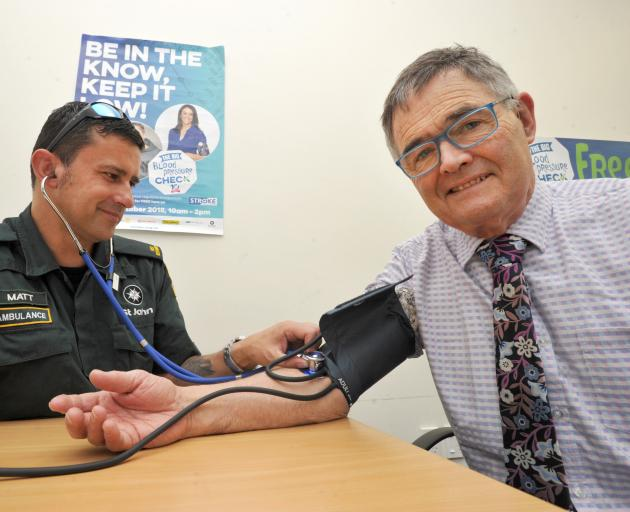 Dunedin Mayor Dave Cull has his blood pressure checked by St John volunteer ambulance officer Matt Herbert as part of Stroke Week. Photo: Gregor Richardson