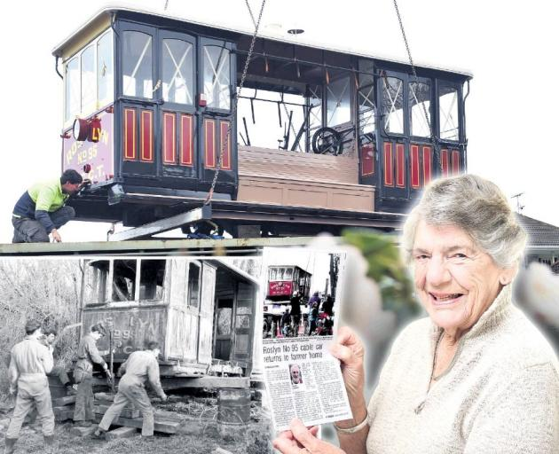 Roslyn No 95 being lifted into its new Mornington home last week; Tramway Historical Society members jack up the cable car for removal from Waihola in 1969; and Margaret Inglis with an ODT story about the cable car in Christchurch yesterday. Photo: Christ