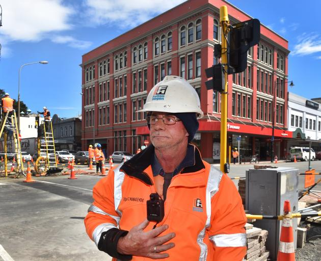 Wearing one of the company's new body cameras is Fulton Hogan site traffic management supervisor...